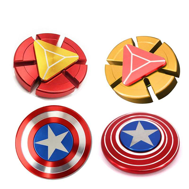 The Avengers Iron Man Captain America Shield Finger Spinner EDC Hand Spiner Anxiety Stress Relief Toys Metal Super Fast Toy ADHD