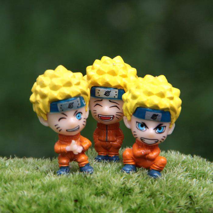 3pcs/lot Action Figure NARUTO Uzumaki Naruto DIY 3cm PVC Micro Landscape Ornament Cartoon Cute Decoration Doll Model Anime
