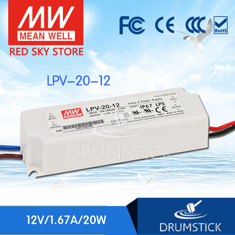 (12.12)MEAN WELL LPV-20-12 12V 1.67A meanwell LPV-20 20W Single Output LED Switching Power Supply mean well clg 150 12b 12v 11a meanwell clg 150 12v 132w single output led switching power supply [real6]