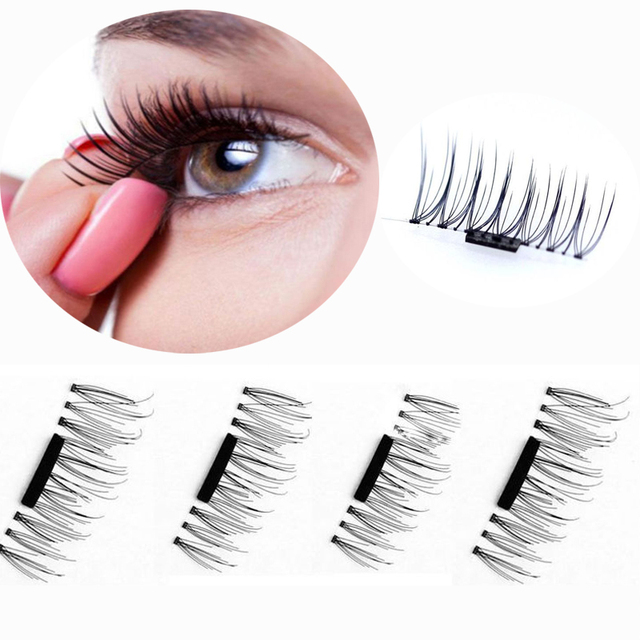 e76069a2030 VELMIN 4Pcs/2Pairs Full Strip 3D Magnetic False Eyelashes Handmade Thick  Long Cosmetic Fake Eye Lashes Extension Tools