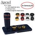 Apexel 4 en 1 12X Teleobjetivo y Ojo de Pez y Lentes de Gran Angular y Macro lente de la cámara kit con la caja del teléfono Para Samsung Galaxy S6 APL-12X85