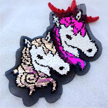 2018 NEW unicorn Reversible Change color Sequins Sew On Patches for clothes DIY Patch Applique Bag Clothing Coat Sweater Crafts diy crop top