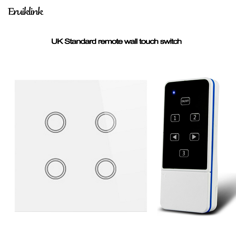 UK Remote Switch Crystal Glass Panel 4Gang 1 Way Wireless Light Switch IOS Android Control by Broadlink rm pro for smart home chunghop rm l7 multifunctional learning remote control silver
