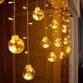 3 М 120 LED Рождественские Огни Закрытый Занавес Фея Строка Света Свадьба Украшение Окна Гирлянды Круглый Шар Мигалкой Pisca ЕС 220 В