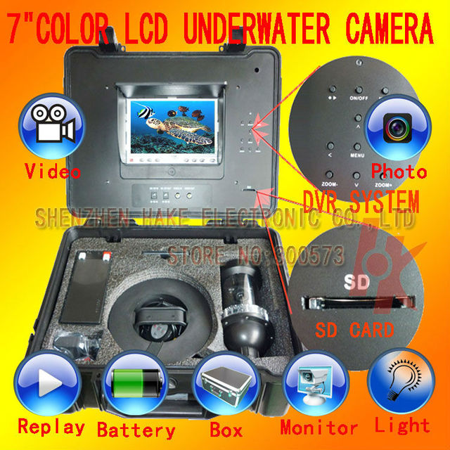 "7"" TFT LCD monitor 50M cable 360 degree rotate 1/3""SONY Super HAD CCD underwater camera with DVR, underwater camera HKS106-2DVR"