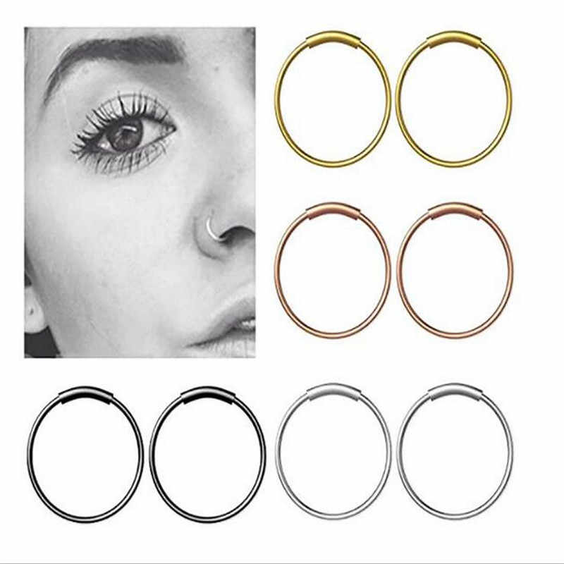 New Arrival 8mm Septum Medical Titanium Nose Ring Silver Gold Body Clip Hoop For Women Septum Piercing Clip Jewelry Gift