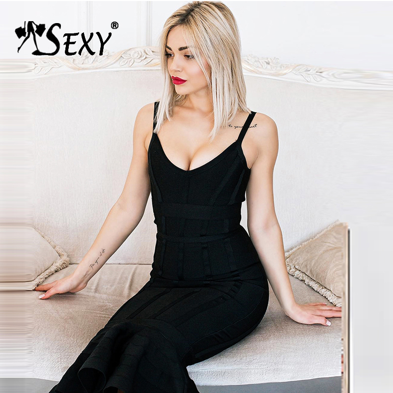 Gosexy Women Bandage Dress 2018 Sexy Deep V Spaghetti Strap Backless Midi Mermaid Lady Dress Femme