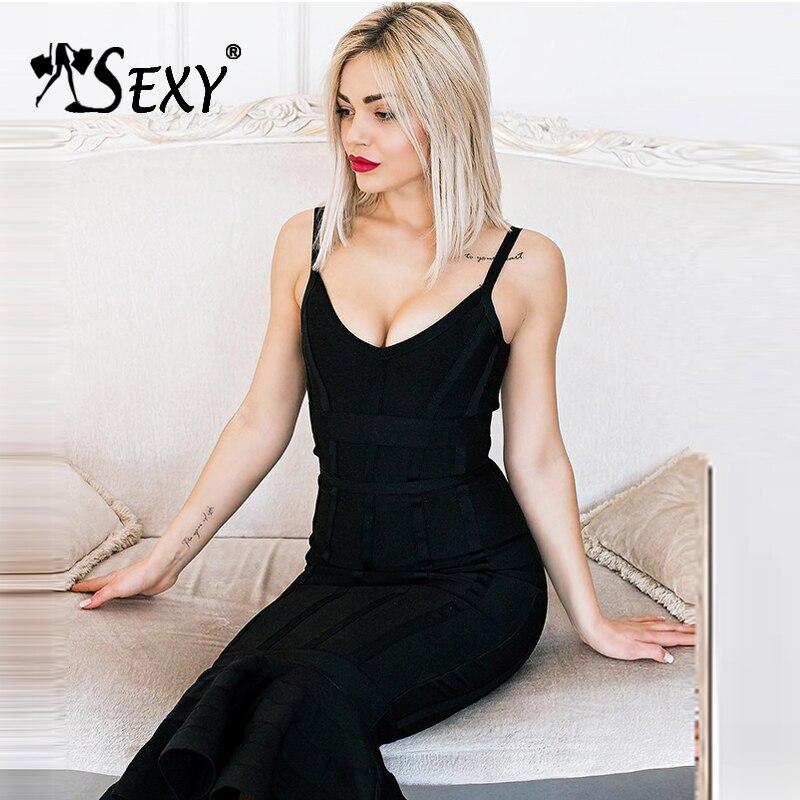 Gosexy Women Bandage Dress 2018 Sexy Deep V Spaghetti Strap Backless Midi Mermaid Lady Dress Femme Vestidos New Fashion