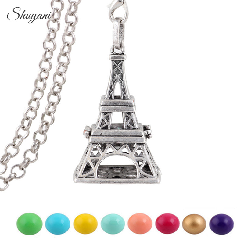 10PCS Openable Eiffel Tower Cage for Pregnant Ball Jewelry Gift Mexican Ball Sounds Chime Harmony Ball Bola Pendant Necklace