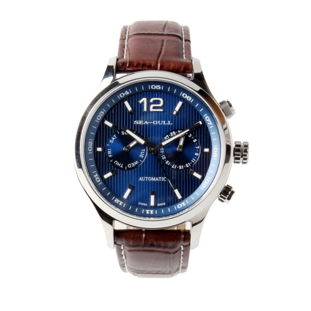 New Arrival Seagull Day Date Dual Time Zone GMT Guilloche Luminous Hands Exhibition Back Automatic Men