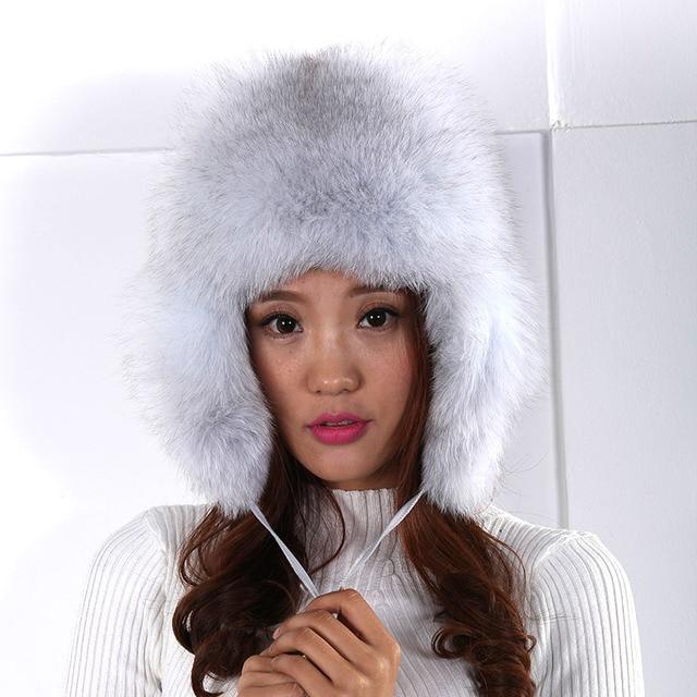 women's bomber hat personality wool fur warm sphere winter outdoor tide bomber hats sleeve head cap warm ear cap female fur hat