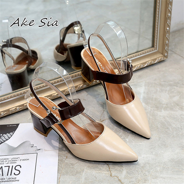 2019 spring hollow coarse sandals high-heeled shallow mouth pointed pumps shoes women Female sexy high heels large size mujer 2