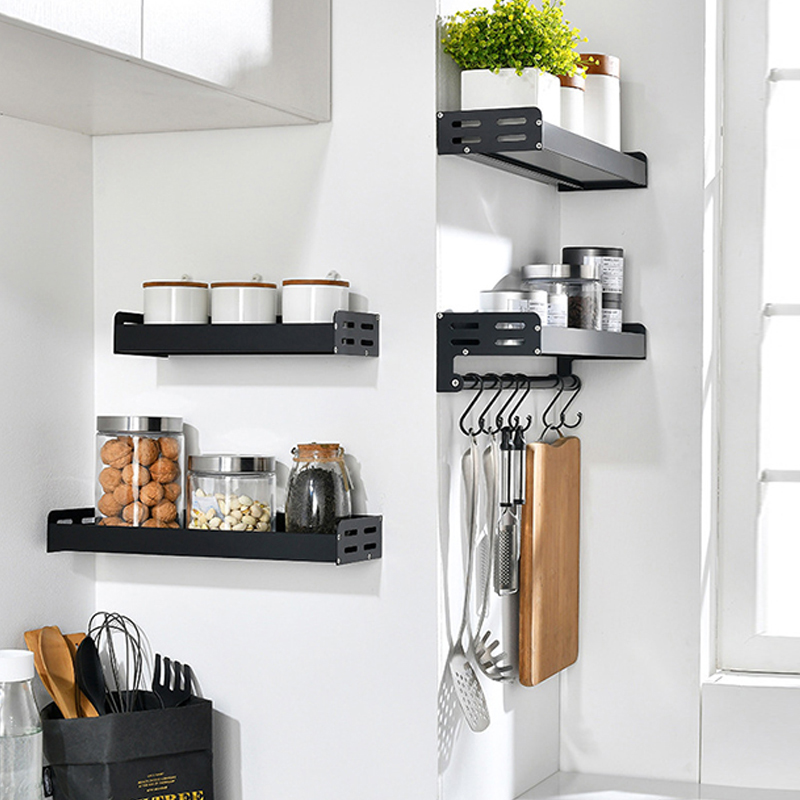 Wall Mount Aluminum Spice Racks and Kitchen Organizer with Spoon Hanger Hook 3