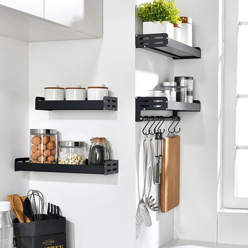 Wall Mount Spice Racks Aluminum Kitchen Organizer Storage Shelves Utensil Spoon Hanger Hook Kitchen Gadgets Accessories Supplies Racks Holders Aliexpress