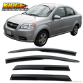 For 2007-2011 Chevy Aveo JDM Hatchback 5Dr Smoked Wind Deflectors Stick On Window Visors USA Domestic Free Shipping
