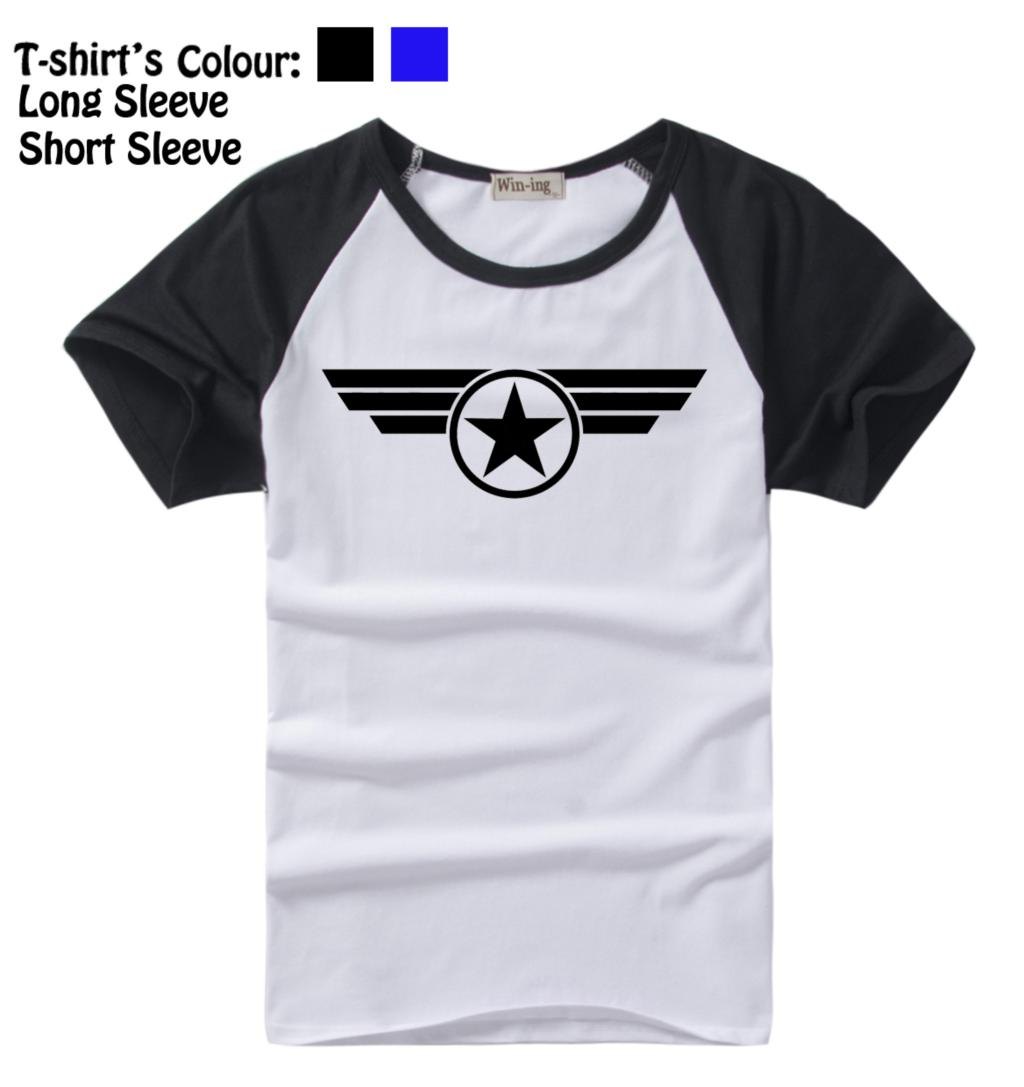 Captain America Super Soldier Uniform Marvel Comic Pattern Long Short Sleeves T-Shirt Men's Boy's Tee Tops Black or Blue Sleeves