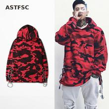 High Street Camouflage Hoodie Shoelace Design Sweatshirt Fashion Brand Red Blue Hoodies Camo Red Blue Hoodies Sweatshirt Mens