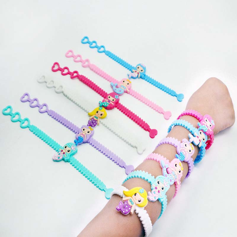 6pcs Mermaid Colorful Silicone Bracelets Soft Rings Birthday Party Decorations Kids Mermaid Party Favors Baby Shower Girls Gifts