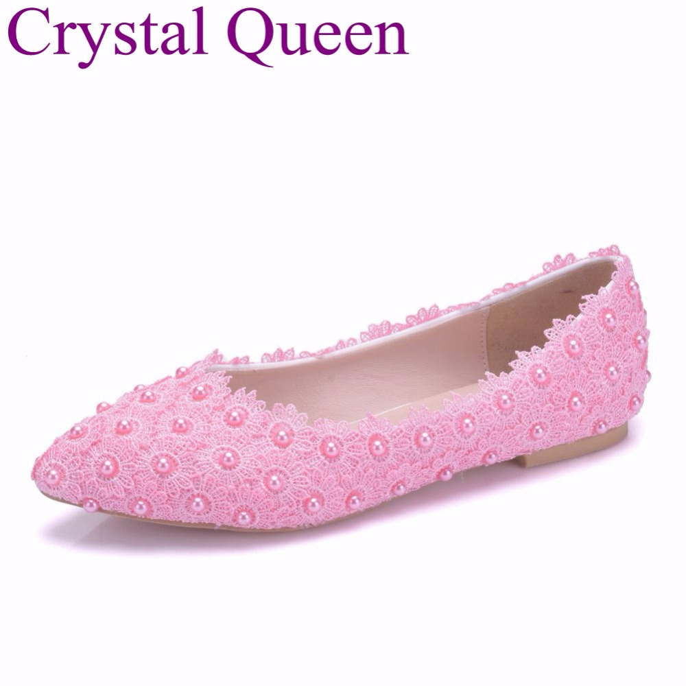 Crystal Queen Pink Lace Wedding Shoes Flat Heels Pointed ...
