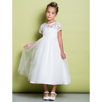 LAN TING BRIDE A-Line Tea Length Flower Girl Dress - Lace Tulle Short Sleeves Jewel Neck with Lace
