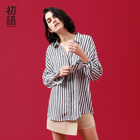 Toyouth Women Tops And Blouses 2018 Summer New Loose Stripe Shirt Ins Fashion Long Sleeve Bandage