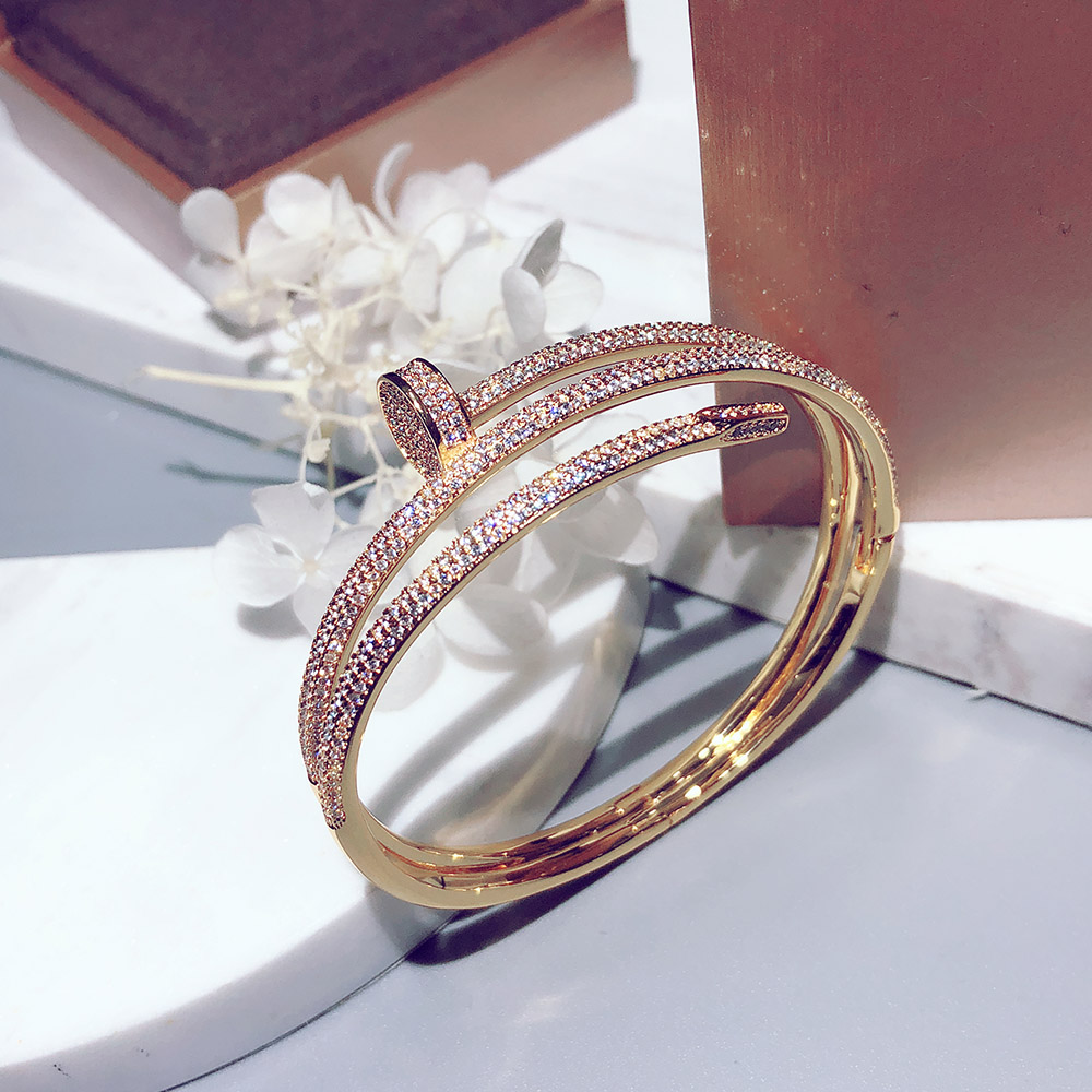 Hot selling brand S925 pure silver three ring nail bracelet fashion personality fashion classic luxury temperament