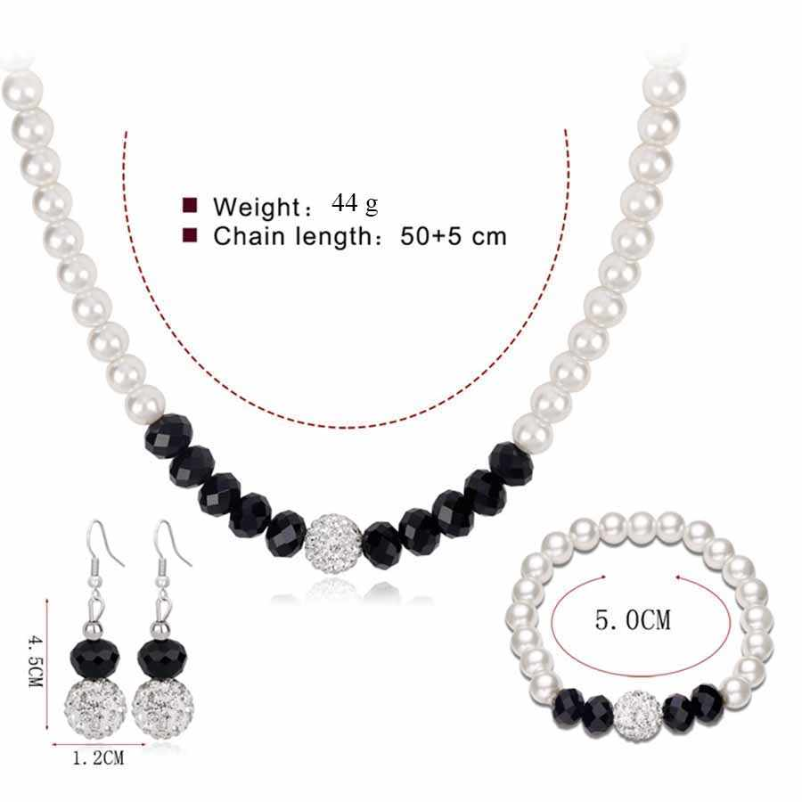 Simulated Pearl Jewelry Sets Party Pearl Earrings Necklace Bracelet Set Woman Earings Fashion Jewelry African Beads Jewelry Sets