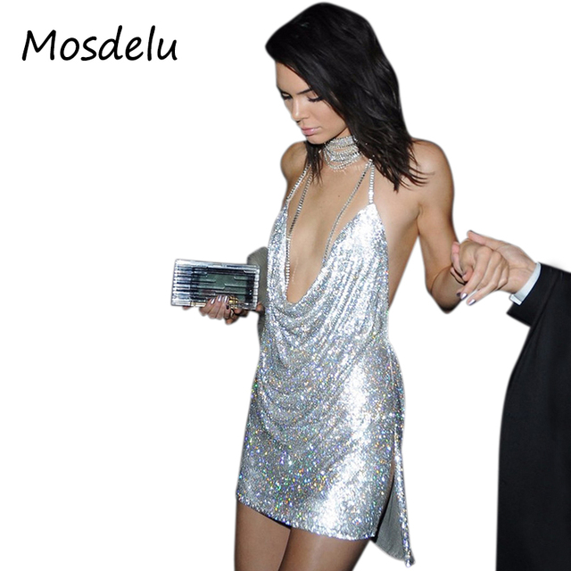 d4e116ee37 Mosdelu Kendall Jenner backless Vintage Sequined party dresses women halter sexy  bodycon gatsby dress cocktail summer dress