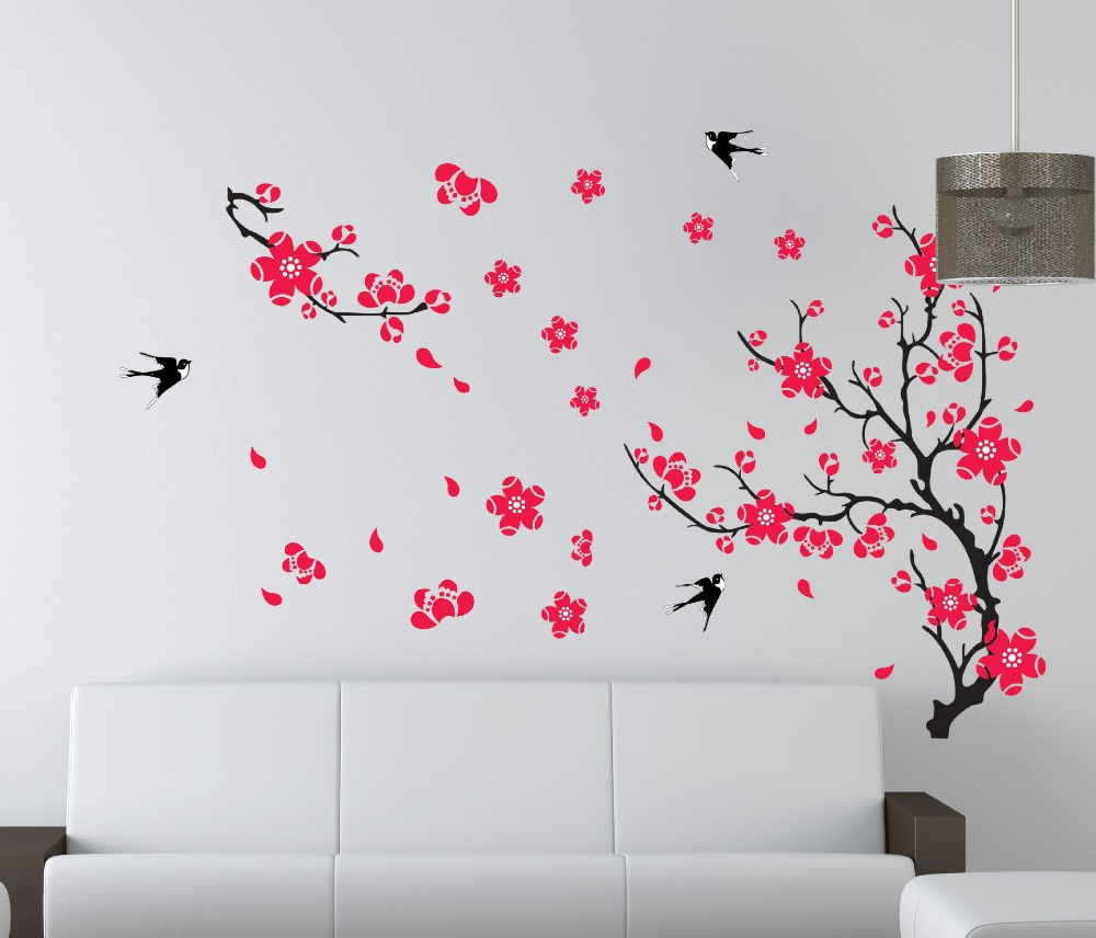 new red cherry plum flower tree wall stickers decals spring blossom  branches wallpaper Family bedroom living room decor-in Wall Stickers from  Home & Garden ...