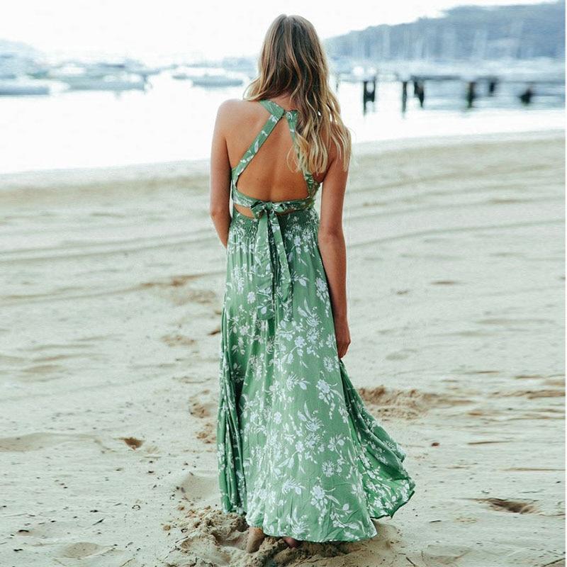 Conmoto Sexy hors épaule vert imprimé longue robe femmes 2019 été mode vacances Polyester Maxi robe taille haute Split Vestido