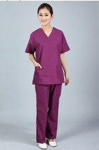 Scrubs больница медсестра медицинского скраб равномерное v коротким шеи лето одежды