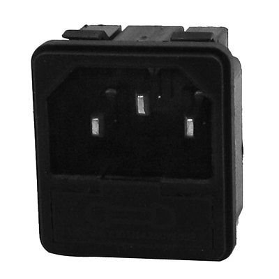 AC250V 10A 20mmx5mm Fuse 3 Terminals IEC320 C14 Inlet Male Power Socket ac 250v 10a iec 320 c13 c14 inlet panel power socket w fuse holder