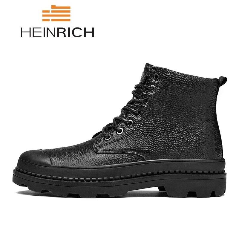 Couro Masculino Heinrich Fur De En Botas Botte Bottes Homme Travail black Chaussures Black Hiver Confortable Hommes Véritable Cuir q7qUP