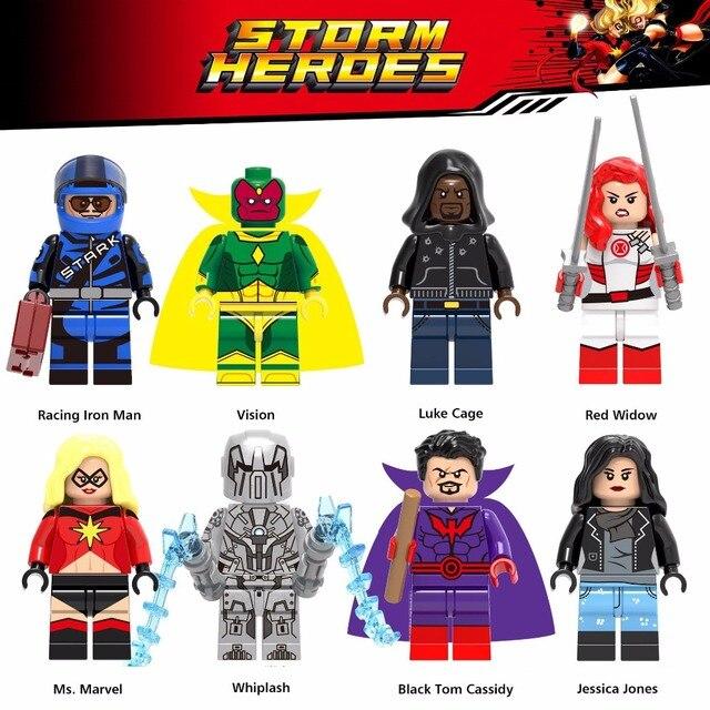Homem De Ferro Marvel Super Heroes Corrida Visão do homem aranha Viúva Vermelha Luke Cage Whiplash Modelos Building Blocks Brinquedos Para Crianças figuras