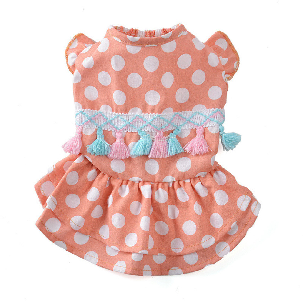 Dog Clothes For Small Dogs Pet Products Dog Clothing Spring And Summer Cute Dotted Tassel Skirt Dog Costumes Pet Clothes