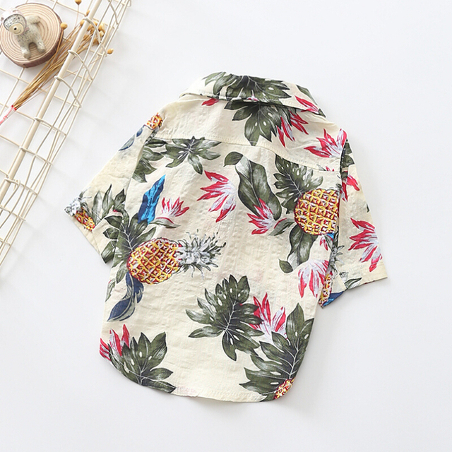 2019 Summer Beach Shirt Dog Cute Print Hawaii Beach Casual Pet Travel Shirt Pineapple Flamingo Short Sleeve Small Dog Cat Blouse 1
