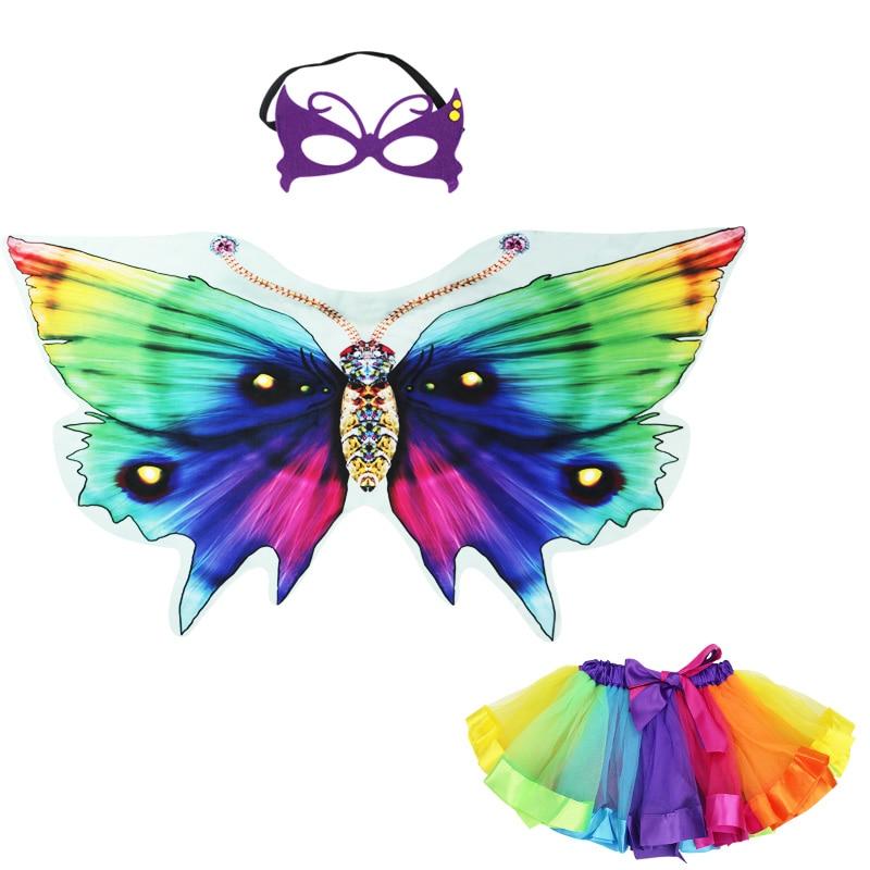 Energiek Speciale Vlinder Vleugel Masker Rok Meisjes Carnaval Jurk Cosplay Wonderbaarlijke Speelgoed Kinderen Dag Kostuum Kid Animal Meisje Fairy Mooi En Charmant