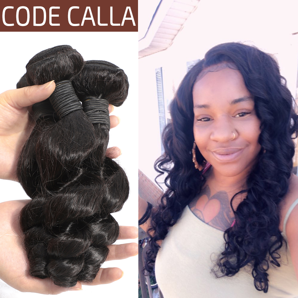 Code Calla Loose Wave Salon Remy Indian Human Hair Weave Bundles Natural Black Color Hair Extension 1/3/4 PCS Bundles For Women(China)