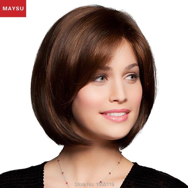 Peerless Virgin Hair Short Human Hair Wigs For Cute Women Elegant MAYSU Side Parting Classic Brazilian Virgin Hair Brown wig