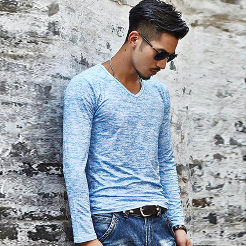 15# Мужская футболка с v-образным вырезом, футболка с длинным рукавом, хлопковая футболка для фитнеса размера плюс, Мужская Уличная футболка для спортзала