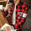 2016 camisa de cuadros masculinos adolescentes cultiva su moralidad ocio camisa de manga larga