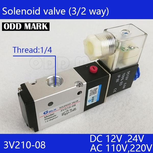 2PCS Free shipping good qualty 3 port 2 position Solenoid Valve 3V210-08-NC normally closed,have DC24v,DC12V,AC110V,AC220V 2pcs free shipping 3 port 2 position solenoid valve coil belt line type 3v110 06 no normally open 1 8 dc12v dc24v ac220v