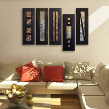 Large 5 Piece Wall Art Pictures Hand-painted Abstract Black Oil Paintings on Canvas