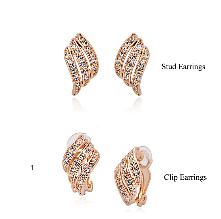 Top Quality New Fashion Mosaic AAA Zircon Crystals S Leaf Shape No Ear Hole Clip Earrings for Women