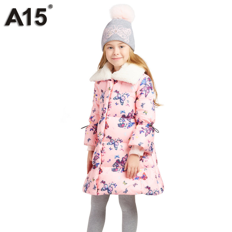 A15 Brand Girls Clothes Thick Duck Down Jacket for Teen Girl 2017 Winter Jacket Girl Coat Children Long Warm Winter Coat 12 14 Y a15 girls down jacket 2017 new cold winter thick fur hooded long parkas big girl down jakcet coat teens outerwear overcoat 12 14