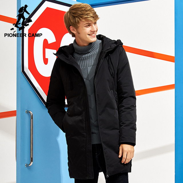 a60a4b27f3571 Pioneer Camp new long warm thick winter down jacket men brand-clothing  hooded white duck down coat male quality black AYR705304