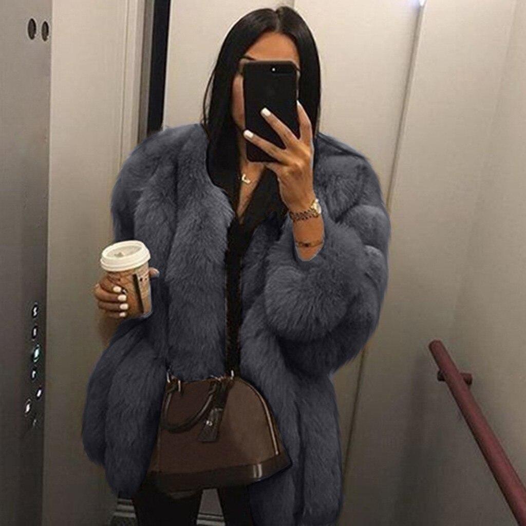 2018 модное женское зимнее пальто из искусственного меха с длинным рукавом теплое пальто мягкое однотонное Женское пальто оверсайз плюс верхняя одежда
