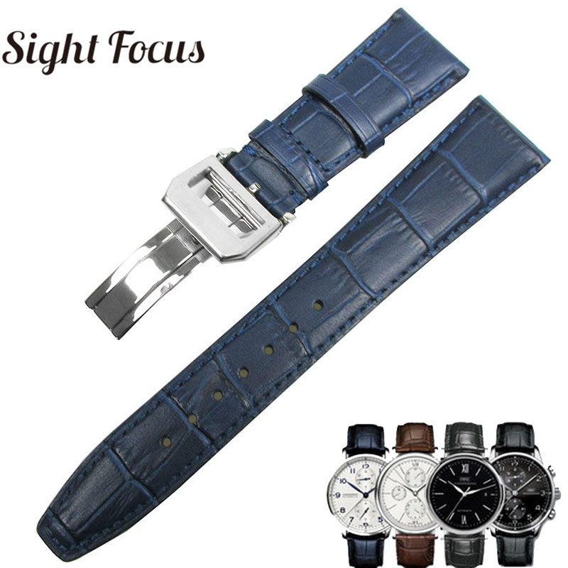 22mm Men's Blue Watch Band for IWC Calf Leather Watch Strap Alligator Grain PORTUGIESER CHRONOGRA Bracelet Belt Pulseira Relogio-in Watchbands from Watches