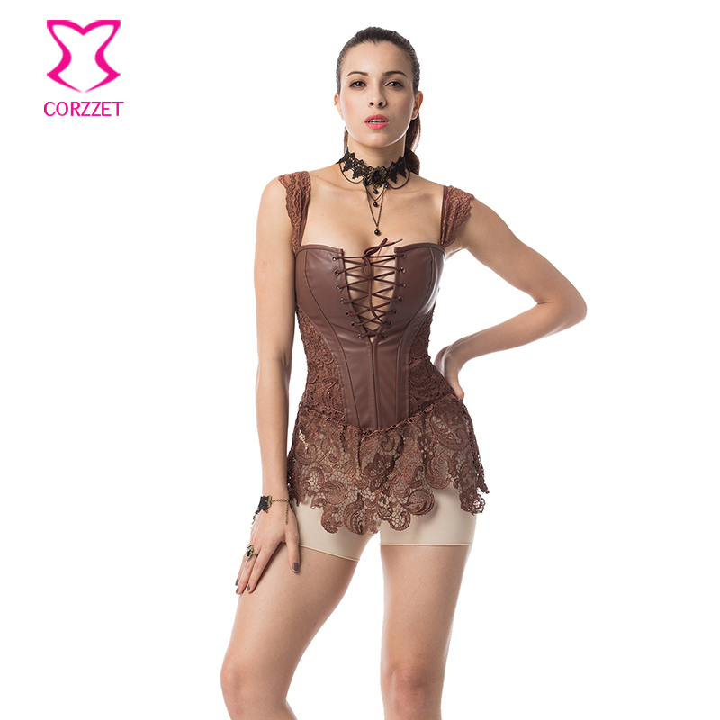 Brown Floral Lace and Leather Corset Dress Corselet Plus Size Women 6XL Steampunk  Corsets and Bustiers Sexy Gothic Clothing 3b233a2514