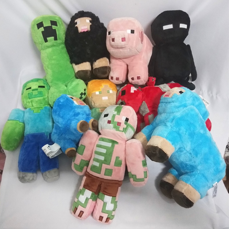 Minecraft plush toy Enderman Creeper Alex Pig Zombie ZombiePigman cow Stuffed toy doll Christmas presents for children's bear leader baby clothing sets kids clothes autumn baby sets kids long sleeve sports suits bow tie t shirts pants boys clothes
